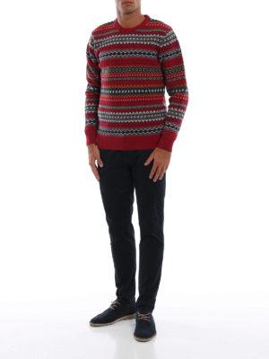 BARBOUR: maglia collo rotondo online - Pull Case Fairisle in lana jacquard rossa