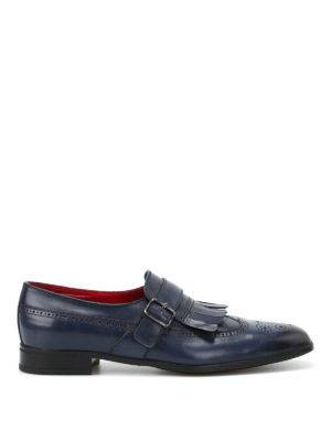 Barrett: classic shoes - Blue leather brogue monk straps