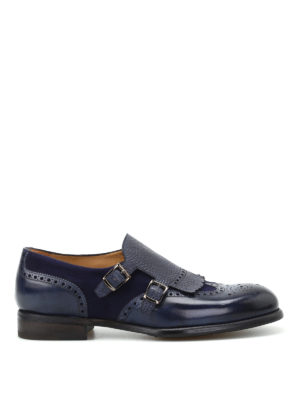 Barrett: classic shoes - Leather and suede blue monk straps