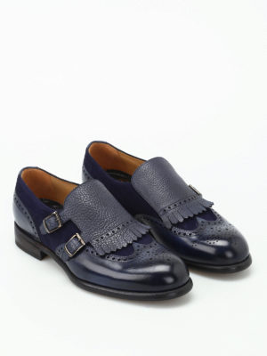 Barrett: classic shoes online - Leather and suede blue monk straps