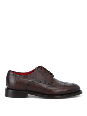 BARRETT: scarpe stringate - Derby brogue in pelle testurizzata marrone