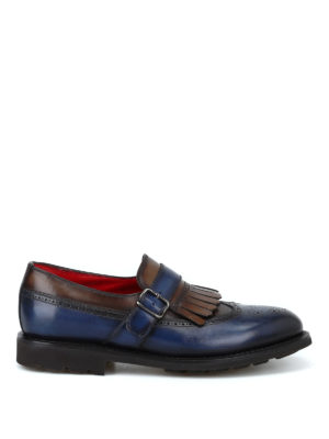 BARRETT: Mocassini e slippers - Monk strap brogue in pelle blu e marrone