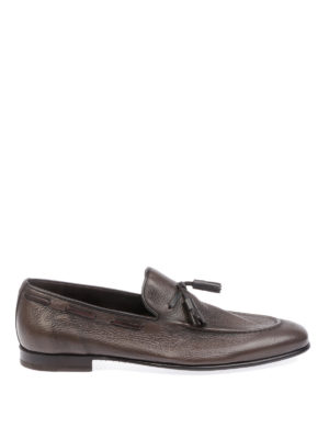 BARRETT: Loafers & Slippers - Brown tasselled hammered leather loafers