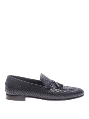 Barrett: Loafers & Slippers - Corsaro blue woven leather loafers