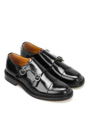 Belsire: classic shoes online - Brushed leather monk straps