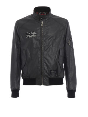 BELSTAFF: giacche bomber - Bomber in cotone spalmato nero Ashburham
