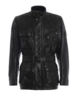 BELSTAFF: giacche in pelle - Giubbotto Roadmaster con cintura