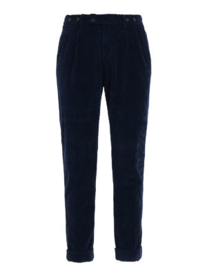 Berwich: casual trousers - Barber blue velvet cotton trousers