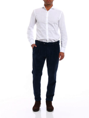 Berwich: casual trousers online - Barber blue velvet cotton trousers