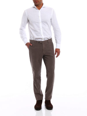 Berwich: casual trousers online - Classic brown fustian trousers