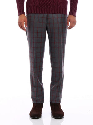 Berwich: Tailored & Formal trousers online - Check wool trousers