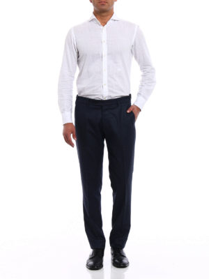 Berwich: Tailored & Formal trousers online - Micro patterned wool chino trousers