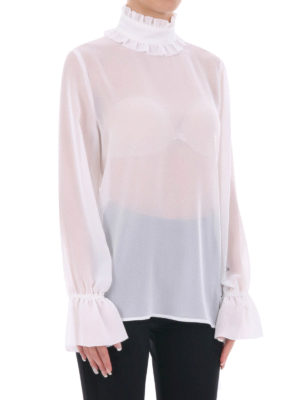 Blugirl: blouses online - Ruffled turtleneck sheer  blouse