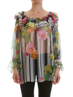 Blugirl: blouses online - Stripe and cactus print silk blouse