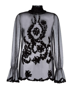 Blugirl: blouses - Ruffled sheer embroidered blouse