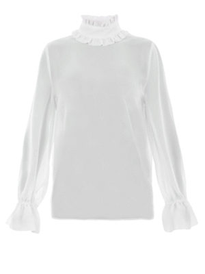 Blugirl: blouses - Ruffled turtleneck sheer  blouse