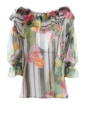 Blugirl: blouses - Stripe and cactus print silk blouse