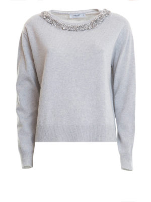 Blugirl: boat necks - Jewel detailed wool blend sweater