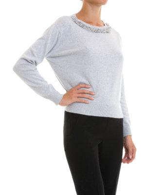 Blugirl: boat necks online - Jewel detailed wool blend sweater