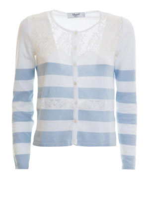 Blugirl: cardigans - Lace detail striped cotton cardigan