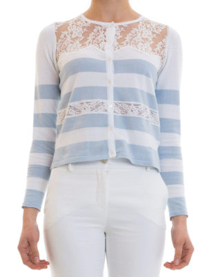 Blugirl: cardigans online - Lace detail striped cotton cardigan
