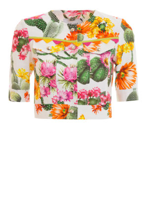 Blugirl: casual jackets - Cactus print cotton cropped jacket