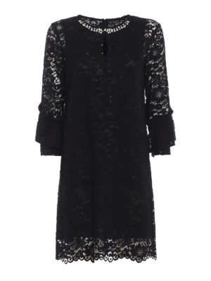 BLUGIRL: abiti da cocktail - Abito gioiello nero in pizzo macramè
