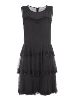 Blugirl: cocktail dresses - Embellished sheer flounce dress