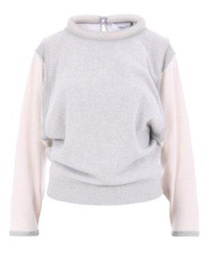 Blugirl: crew necks - Two-tone rolled collar sweater