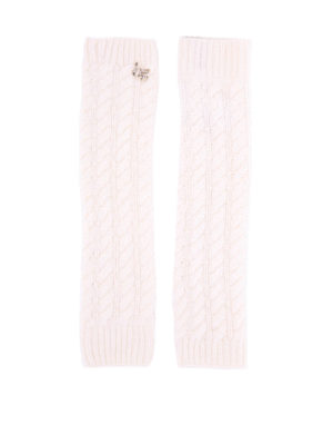 Blugirl: gloves - Embellished cable knitted muffs