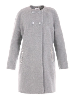 Blugirl: knee length coats - Crewneck double-breasted coat