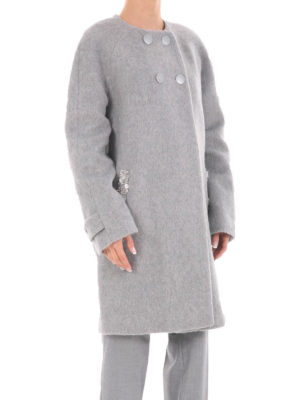 Blugirl: knee length coats online - Crewneck double-breasted coat