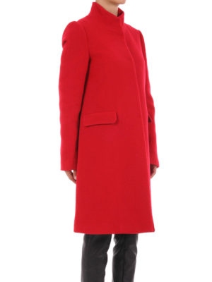 Blugirl: knee length coats online - Guru collar wool blend coat