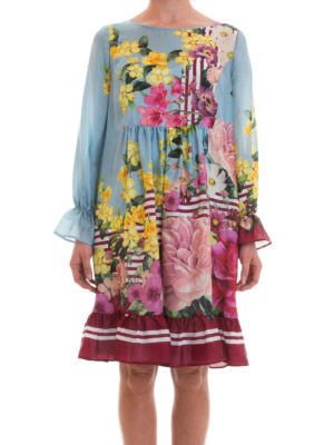 Blugirl: knee length dresses online - Ruffled floral silk dress