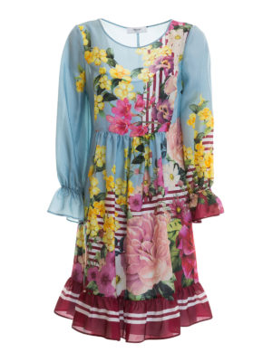 Blugirl: knee length dresses - Ruffled floral silk dress