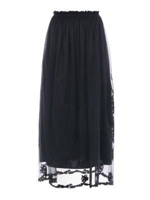 Blugirl: Knee length skirts & Midi - Embroidered tulle midi skirt