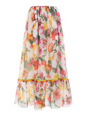 Blugirl: Long skirts - Cactus print flounced skirt