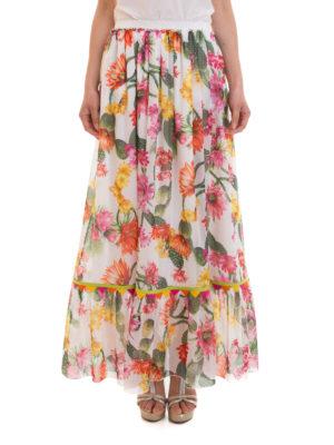 Blugirl: Long skirts online - Cactus print flounced skirt