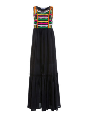 Blugirl: maxi dresses - Embroidered bodice maxi dress