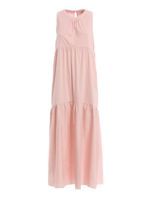 BLUGIRL: maxi dresses - Flounced pink stretch cotton maxi dress