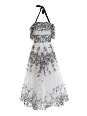 Blugirl: maxi dresses - Frilled bicolour lace dress