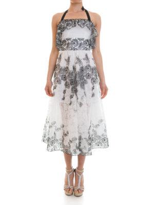 Blugirl: maxi dresses online - Frilled bicolour lace dress