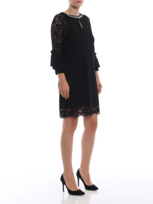 BLUGIRL: abiti da cocktail online - Abito gioiello nero in pizzo macramè