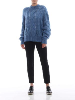 BLUGIRL: leggings online - Leggings neri in jersey ed ecopelle