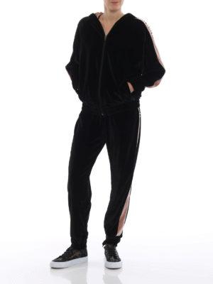 BLUGIRL: pantaloni sport online - Pantaloni in velluto bicolore con strass