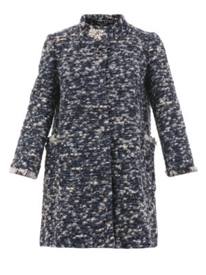 Blugirl: short coats - Brooch detailed bouclé coat