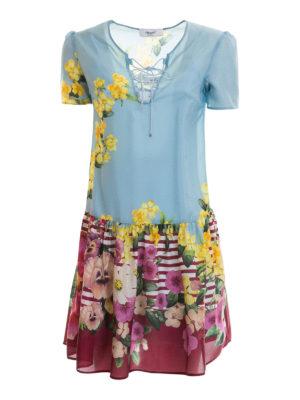 Blugirl: short dresses - Flounced floral silk dress