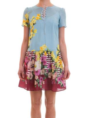 Blugirl: short dresses online - Flounced floral silk dress