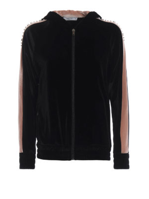 BLUGIRL: Felpe e maglie - Felpa in velluto bicolore con strass