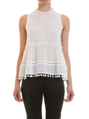 Blugirl: Tops & Tank tops online - Ruched tank top with pompom